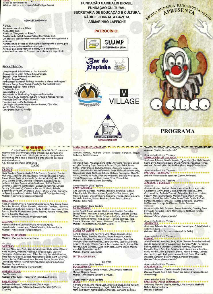 2 Espetaculo O circo_Dancando no ritmo_1998_pecas graficas_folder