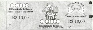 2 Espetaculo O circo_Dancando no ritmo_1998_pecas graficas_ingresso